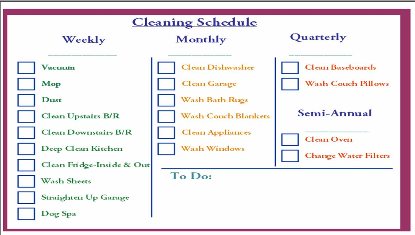 Daily Cleaning Schedule Checklist