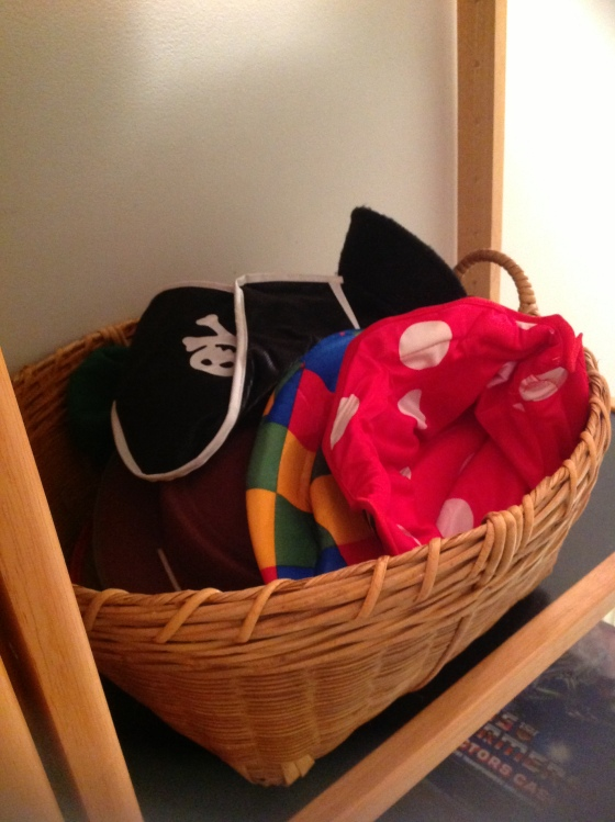 Basket for dress up hats